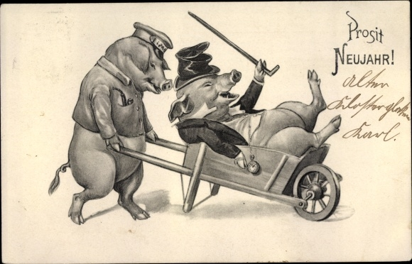 Ak Glückwunsch Neujahr, Vermenschlichte Schweine, Bote fährt Betrunkenen in Schubkarre