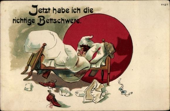 Litho Bettschwere, schlafender Mann, nachgebendes Bett, Kleidung
