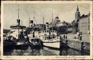 Ak Szczecin Stettin Pommern, Abfahrtstelle der Rügendampfer Nymphe und Stettin