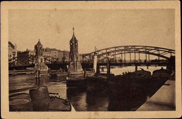 Ak Szczecin Stettin Pommern, Hansabrücke, Weinfässer