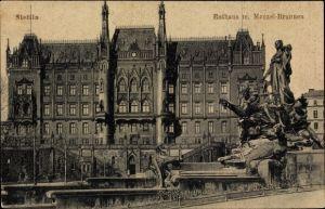 Ak Szczecin Stettin Pommern, Rathaus mit Manzelbrunnen