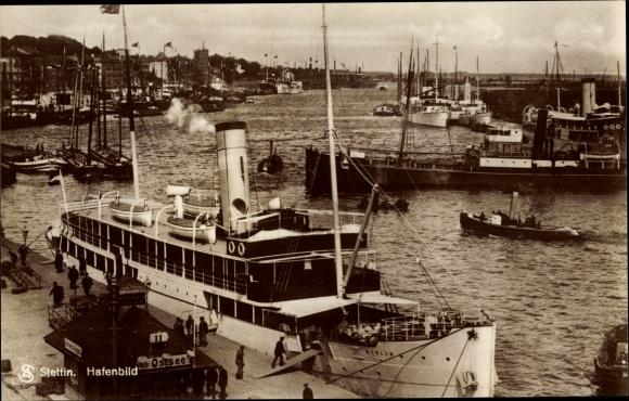 Ak Szczecin Stettin Pommern, Hafenbild