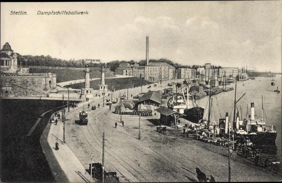 Ak Szczecin Stettin Pommern, Dampfschiffsbollwerk