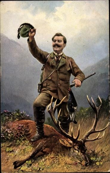 Künstler Ak Müller, August, Stolzer Jäger mit erlegtem Hirsch
