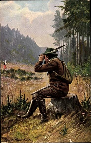 Künstler Ak Jäger beobachtet Bäuerin durchs Fernglas