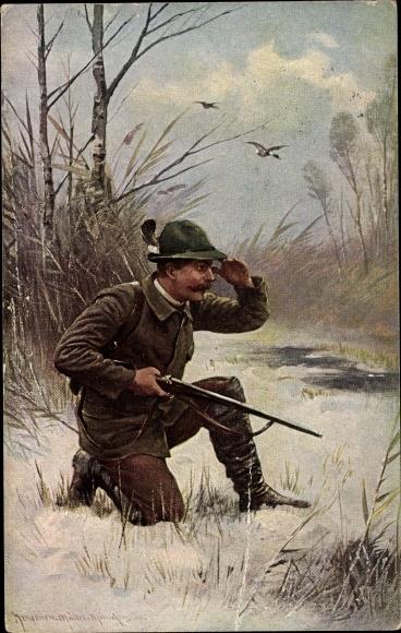 Künstler Ak Müller, August, Jäger mit Jagdgewehr, Winterszene
