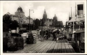 Ak Szczecin Stettin Pommern, Hakenterrasse, Hafenbild