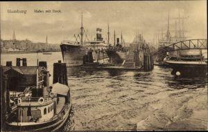 Ak Hamburg, Hafen mit Dock, Dampfschiffe, Segelschiff, Dampfer