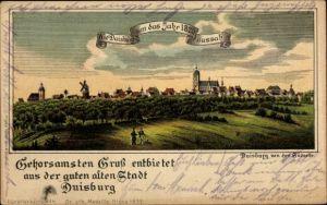 Litho Duisburg im Ruhrgebiet, Die Stadt von der Südseite