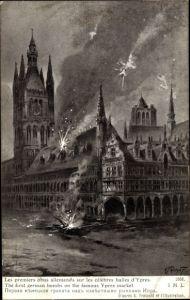 Künstler Ak Ypres Westflandern, celebres halles, les premiers obus allemands