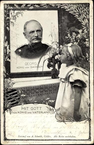 Ak König Friedrich August Georg von Sachsen, Trauerkarte zum Tod, Mädchen mit Blumen
