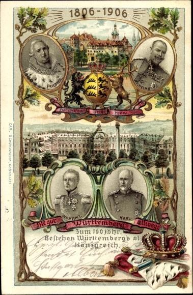 Präge Wappen Litho Königreich Württemberg, Friedrich, Wilhelm II., Wilhelm I., Karl