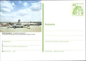 Ganzsachen Ak Flughafen Düsseldorf, Lufthansa und LTU Flugzeug, Beladung