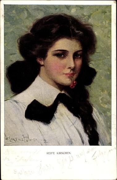Künstler Ak Reife Kirschen, Junge Frau, Portrait, Kirschen im Mund