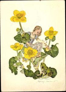 Künstler Ak Schwarz-Torinus, Anna, Frosch, Blumen, Mädchen