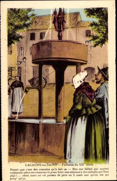 Künstler Ak Lacaune les Bains Tarn, Fontaine du XIIe siècle