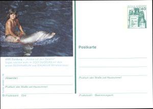 Ganzsachen Ak Duisburg im Ruhrgebiet, Knabe auf dem Delphin, Zoo Duisburg, Delphinarium, Walarium