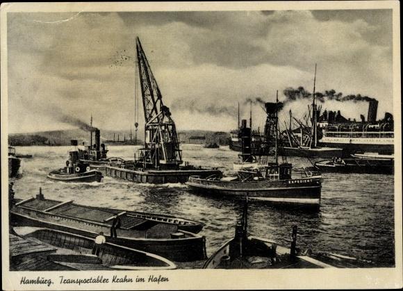 Ak Hamburg, Transportabler Krahn im Hafen