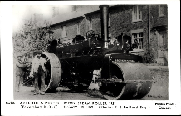 Ak Aveling and Porter, 12 Ton Steam Roller 1921, Faversham RDC, Dampfwalze