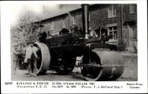 Ak Aveling and Porter, 12 Ton Steam Roller 1921, Faversham RDC, Dampfwalze
