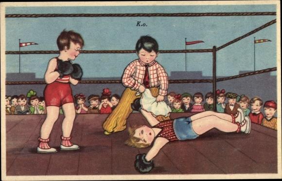 Künstler Ak Boxkampf, Boxer liegt auf dem Boden, K.O.