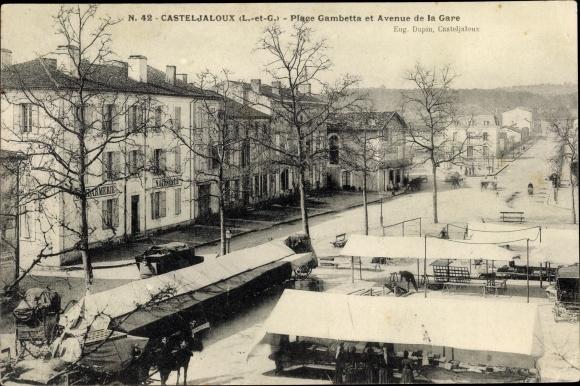 Ak Casteljaloux Lot et Garonne, Place Gambetta et Avenue de la Gare, Gendarmerie Nationale