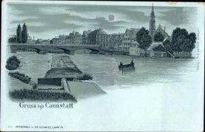 Mondschein Litho Cannstatt Stuttgart in Baden Württemberg, Flusspartie mit Blick auf die Stadt