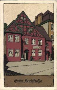 Steindruck Ak Eutin in Ostholstein, Sackstraße, Gasthaus Zum Altdeutschen Haus, Inh. Christian Kopp
