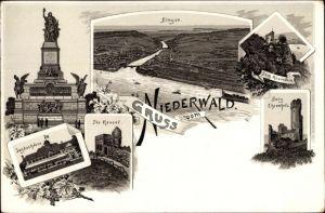 Litho Bingen am Rhein, Panorama, Niederwalddenkmal, Ehrenfels, Rheinstein, Rossel, Jagdschloß