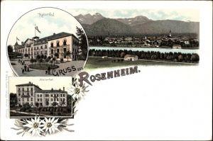 Litho Rosenheim im Alpenvorland Oberbayern, Kaiserbad, Marienbad, Panorama