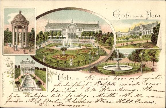 Litho Köln am Rhein, Flora, Brunnen, Pavillon, Garten