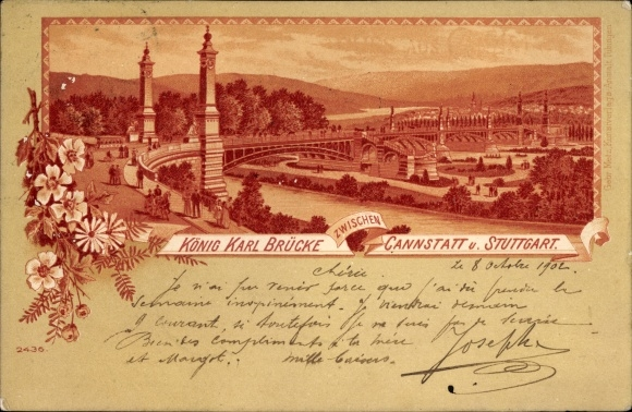 Litho Cannstatt Stuttgart in Baden Württemberg, Blick auf die König Karl Brücke
