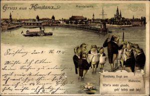 Litho Konstanz am Bodensee, Wasserpartie mit Blick auf die Stadt, Singende Frösche