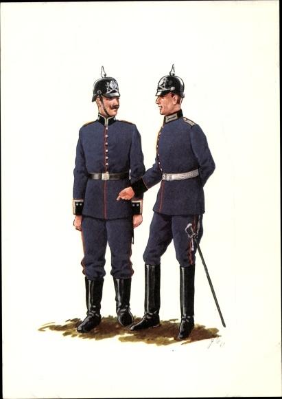 Künstler Ak Bayern um 1900, Pionier Regiment, Offizier und Sargeant