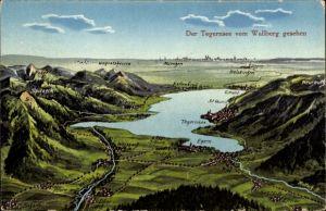 Landkarten Ak Felle, Eugen, Tegernsee im Kreis Miesbach Oberbayern, Panorama vom Wallberg