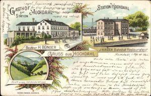 Litho Hochdahl Erkrath in Nordrhein Westfalen, Gasthof zur Station,Bes. H. Bünger,Bahnhof,Neandertal