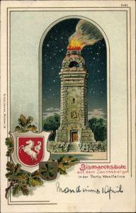 Präge Wappen Litho Porta Westfalica Nordrhein Westfalen, Blick auf Bismarcksäule auf dem Jacobsberg