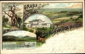 Litho Bad Fallingbostel Lüneburger Heide, Erholungshaus Achterberg, Teich, Eiche