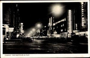 Ak Düsseldorf am Rhein, Graf Adolf Straße bei Nacht