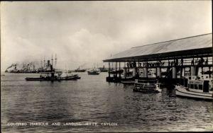 Ak Colombo Ceylon Sri Lanka, Harbour, landing jetty, Hafenpartie