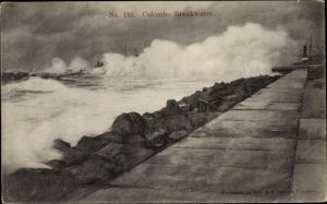 Ak Colombo Ceylon Sri Lanka, Breakwater, Hafenpartie