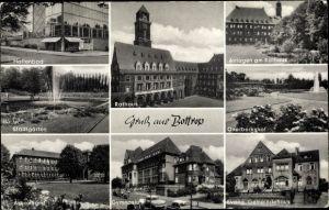 Ak Bottrop im Ruhrgebiet Nordrhein Westfalen, Rathaus, Hallenbad, Arbeitsamt, Gymnasium, Stadtgarten
