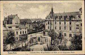 Ak Essen im Ruhrgebiet, Limbecker Platz, Kruppdenkmal und Blick auf die Krupp'schen Werke