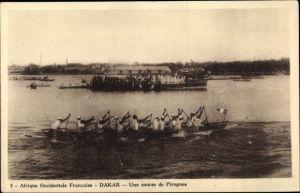 Ak Dakar Senegal, Afrique Occidentale Francaise, Une course de Pirogues