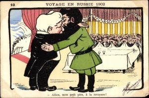 Künstler Ak Voyage en Russie 1902, Emile Loubet, Zar Nikolaus II.