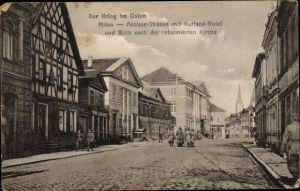 Ak Jelgava Mitau Lettland, Accisse Straße mit Kurland Hotel und Blick nach der reformierten Kirche