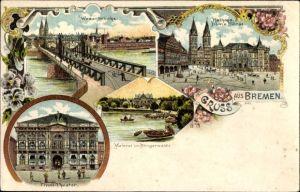 Litho Hansestadt Bremen, Weserbrücke, Tivoli Theater, Rathaus, Dom, Börse, Meierei im Bürgerwalde