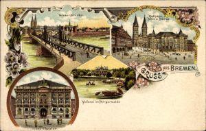 Litho Bremen, Weserbrücke, Weierei, Tivoli Theater, Rathaus, Dom, Börse