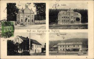 Ak Jägersgrün Muldenhammer Sachsen, Post, Schule, Gasthof, Bahnhof, Gleisseite