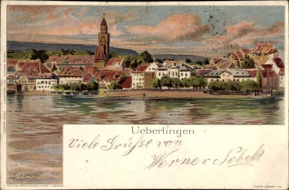 Künstler Litho Biese, C., Überlingen im Bodenseekreis Baden Württemberg, Wasserpartie